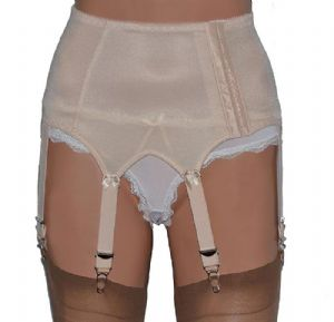 Vintage Style 6 Strap Suspender Belt with Plain Panels in 3 Colours